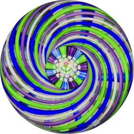 John Deacons 2018 Colorful Pinwheel Paperweight with Scottish Thistle Murrine