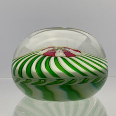Antique Clichy Green & White Swirl Paperweight W/ Large Millefiori