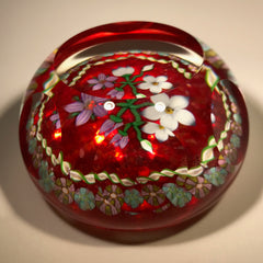 Perthshire Art Glass Paperweight Lampwork Bouquet Millefiori Twist Garland 1986B