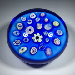 Vintage Pairpoint Art Glass Paperweight Spaced Complex Millefiori on Blue Ground
