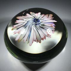 Contemporary Marcus Barnes Art Glass Paperweight Complex Gold Fumed Flower Bouquet