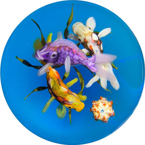 Ken Rosenfeld 2018 Lampwork Frenzy Of Fish On Transparent Blue
