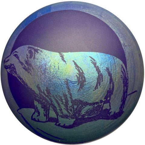 Vandermark Merritt Iridescent Blue Engraved Bear