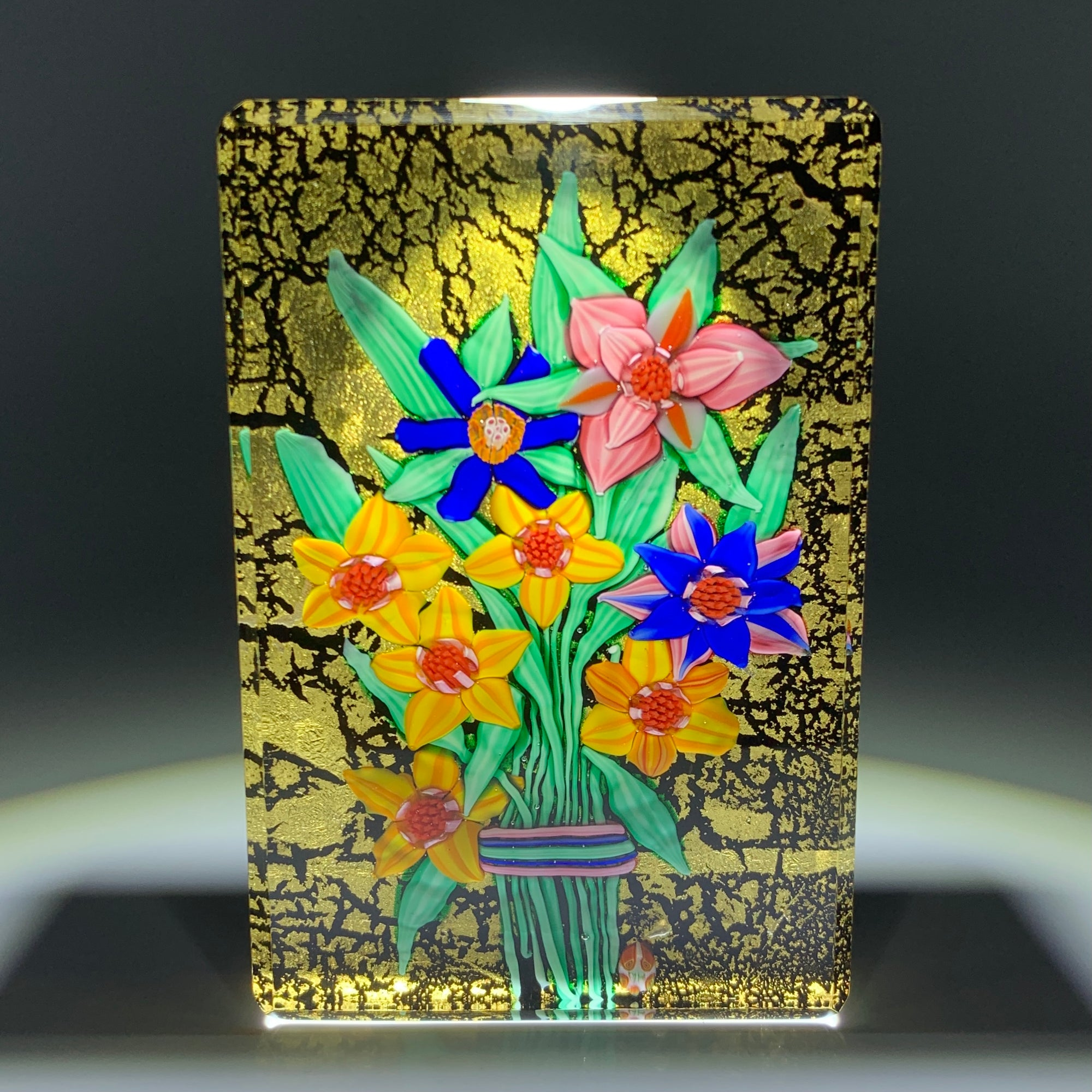 Mickael Hingant 2020 Flamework Flowers on Gold Leaf Plaque Cold-Work by Jim Poore