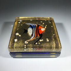 Contemporary Murano Art Glass Paperweight Lampwork Tropical Fish Block with Gold Foil