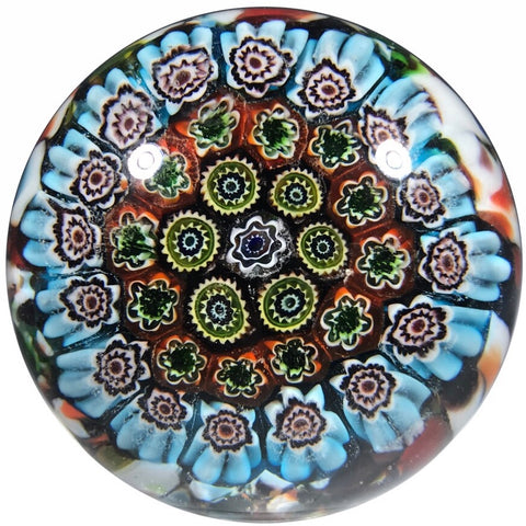 Traditional Vintage Murano Art Glass Paperweight Concentric Millefiori - Unknown Maker