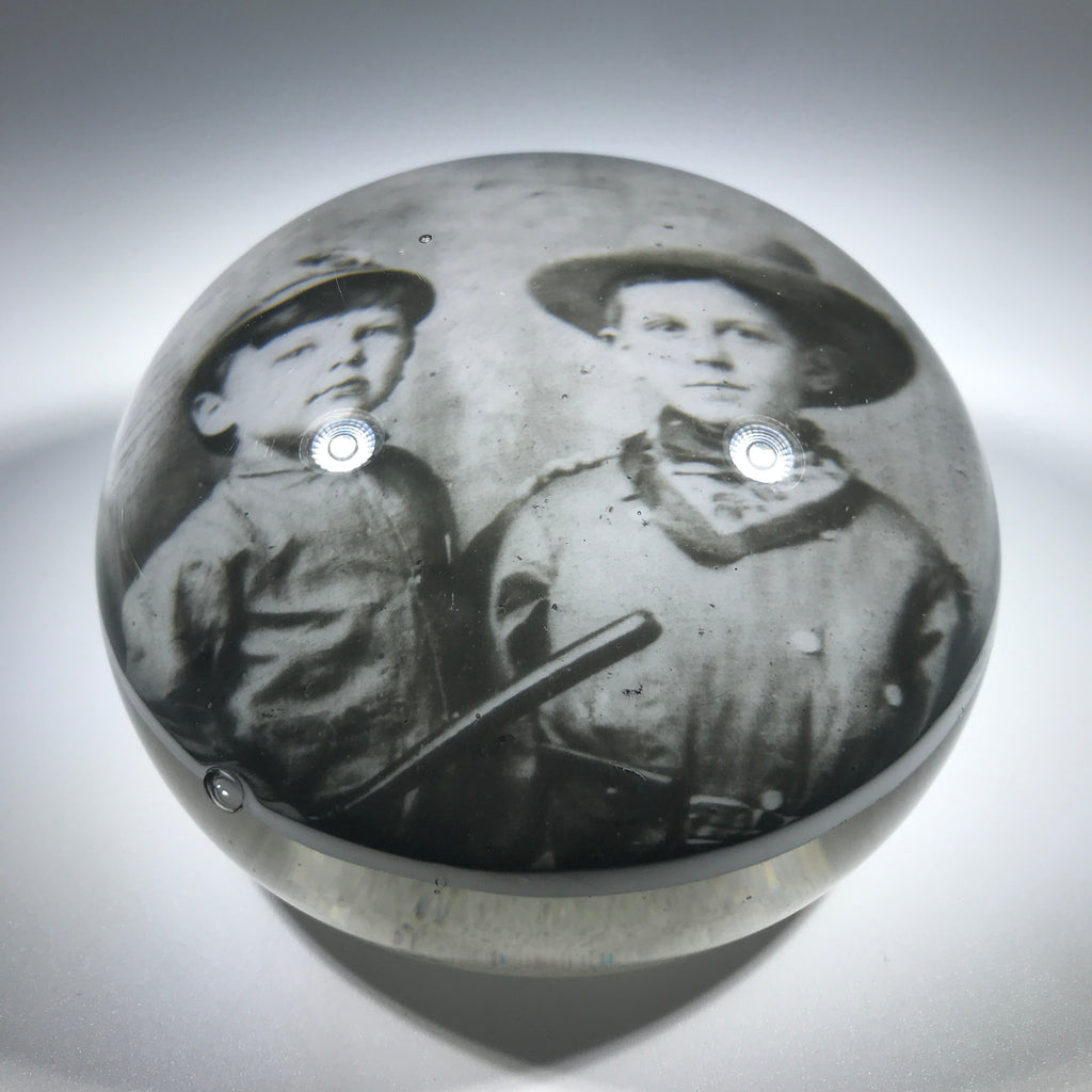 Antique American Art Glass Paperweight Photo Plaque Youth in Civil War Uniforms & Rifle