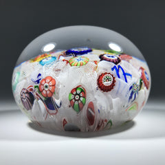 Antique Baccarat B1847 Art Glass Paperweight Spaced Complex Millefiori w/ 10 Silhouette Canes on Upset Muslin