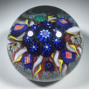 Vasart Art Glass Paperweight Lampwork Radial Millefiori & Ribbon Twists on Opaque Red Ground