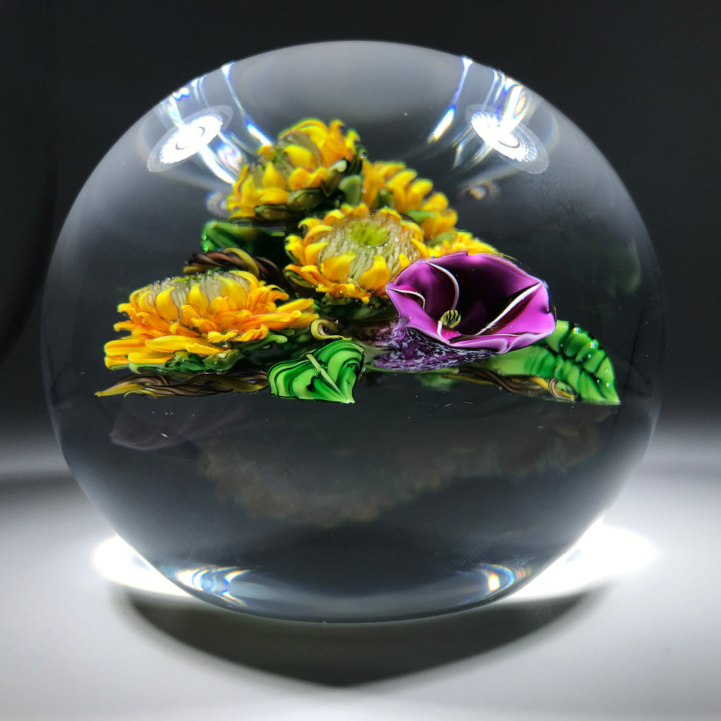 Ken Rosenfeld 2016 Art Glass Paperweight Lampwork Sunflower & Morning Glory  Bouquet