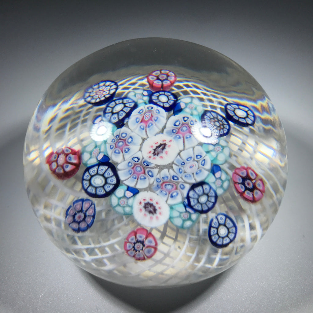 Antique New England Glass Co. Art Glass Paperweight Patterned Complex Milleiofir on Filigree Basket w/ Bee Silhouette Canes