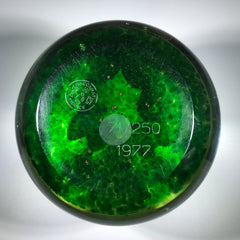 Baccarat 1977 Art Glass Paperweight Lampwork Waterlilies on Translucent Green Pond