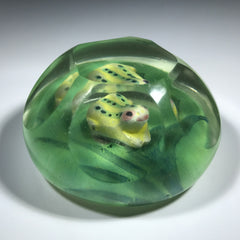 Early 20th Century Chinese Faceted Art Glass Paperweight Painted Frog on Handpainted Pond