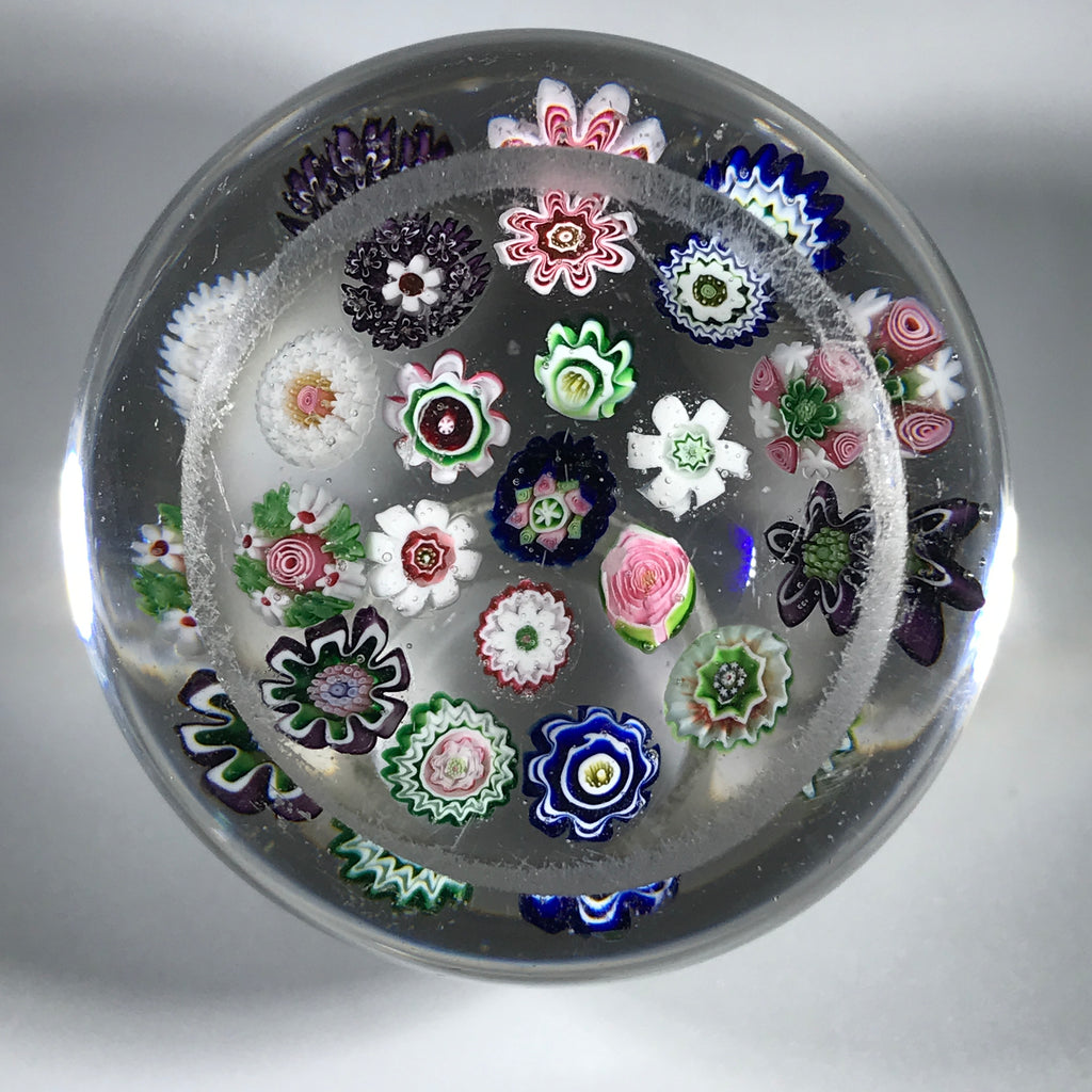 Antique Clichy Art Glass Paperweight Open Concentric Complex Millefiori w/ Rose Cane