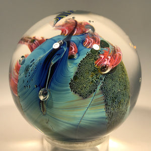 Signed Josh Simpson Art Glass Marble Complex Inhabited Planet w/ Millefiori