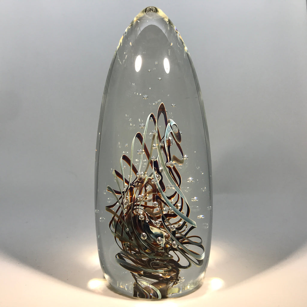Large Signed Henry Summa Art Glass Paperweight Sculpture Folded Filigree