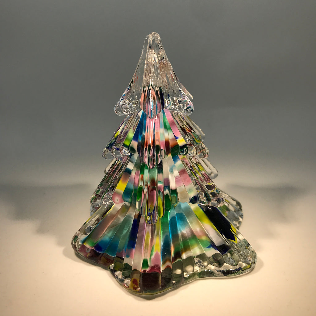 Vintage Prestige Art Glass Paperweight Pressed Multicolored Christmas Tree