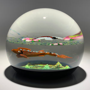 "Limited Edition Caithness Scotland Compound Flamework ""Trout and Mayfly"" 4/100"