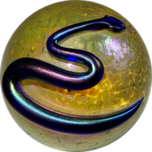 Steven Correia Iridescent Surface Decorated Snake Draped Over Gold Orb