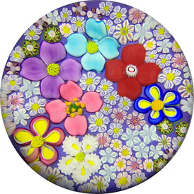 Contemporary Drew Ebelhare & Sue Fox Collaborative Complex Millefiori and Lampwork Blossoms on Lavender Ground
