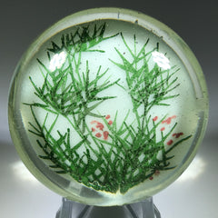 Early Chinese White Ground Art Glass Paperweight Detailed Bamboo Thicket