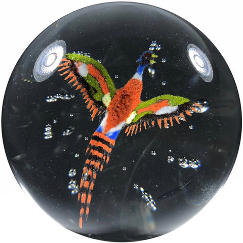 Vintage John Murphy Art Glass Paperweight Detailed Frit Pheasant w/ Control Bubbles