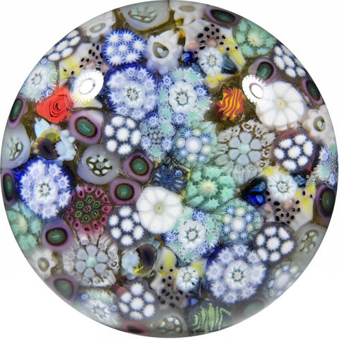 Matt Fimiano 2018 Art Glass Paperweight Closepack Complex Millefiori on Transparent Yellow Ground
