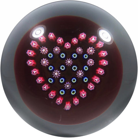 Baccarat 1996 Art Glass Paperweight Heart Patterned Millefiori on Transparent Ruby Ground