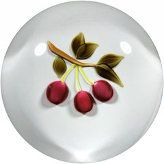 Francis Whittemore Art Glass Paperweight Lampwork Cherries on Sodden White Snow Ground