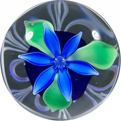 Vintage Strathearn Glass Paperweight Lampwork Upright Blue Flower w/ Pulled Feather Decoration