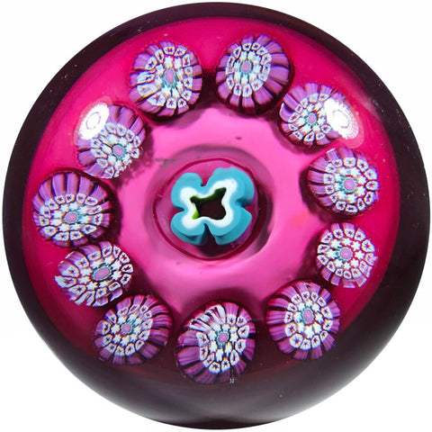 Val St. Lambert Art Glass Paperweight Complex Millefiori Garland on Opaque Plum Colored Ground