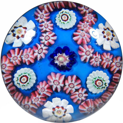 Antique Clichy Art Glass Paperweight Trefoil Complex Millefiori Garland on Opaque Blue Ground