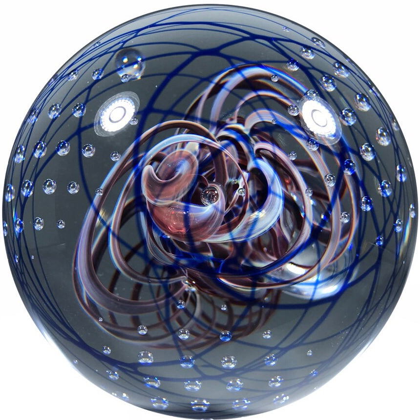 Henry Summa 1997 Art Glass Paperweight Modern Ribbon Swirl and Control Bubbles