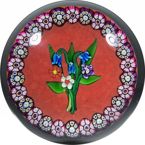 Paul Ysart Art Glass Paperweight Lampwork Flower Bouquet w/ Millefiori Garland on Opaque Red Ground