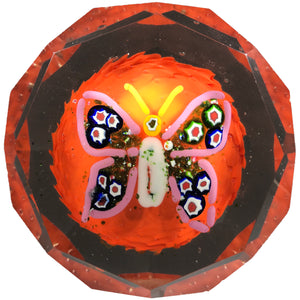 Faceted Czechoslovakian Art Glass Paperweight Butterfly with Millefiori & Aventurine Wings on Opaque Orange Ground