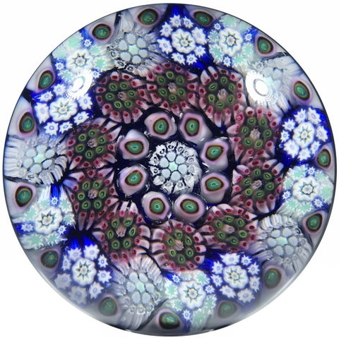Matt Fimiano 2018 Art Glass Paperweight Concentric Complex Millefiori on Transparent Blue Ground