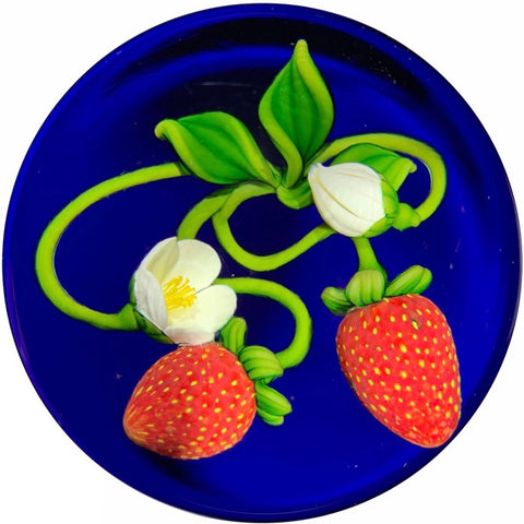 Gordon Smith Art Glass Paperweight Lampwork Blooming Strawberries on Transparent Blue Ground