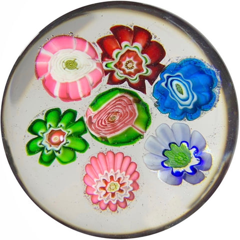 Miniature Antique Clichy Art Glass Paperweight Complex Millefiori w/ Two Rose Canes