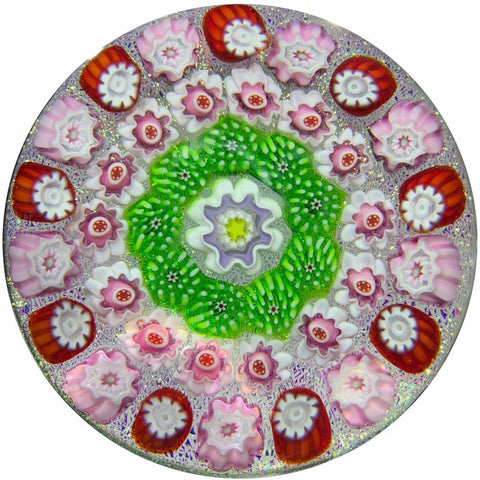 Julie Scrutton Lewis 1999 Art Glass Paperweight Complex Concentric Millefiori on Dichroic Ground