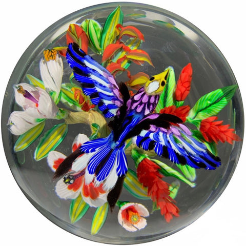 Contemporary Mickael Hingant Art Glass Paperweight Lampwork Tropical Flower with Hovering Indian Roller Bird