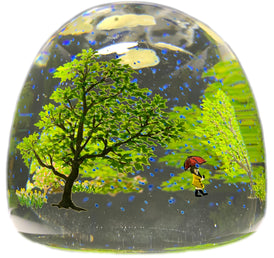 Contemporary Alison Ruzsa Art Glass Paperweight Encapsulated Hand Painted Girl in the Rain