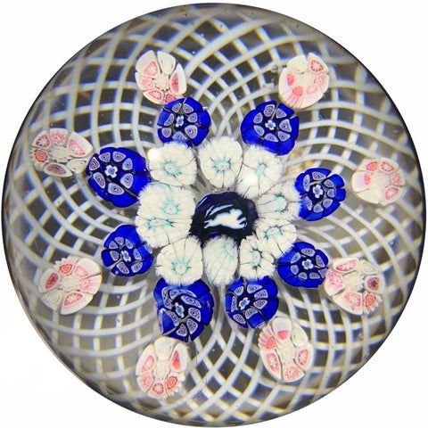 Antique New England Glass Company Art Glass Paperweight Patterned millefiori on Filigree Basket Running Rabbit Center
