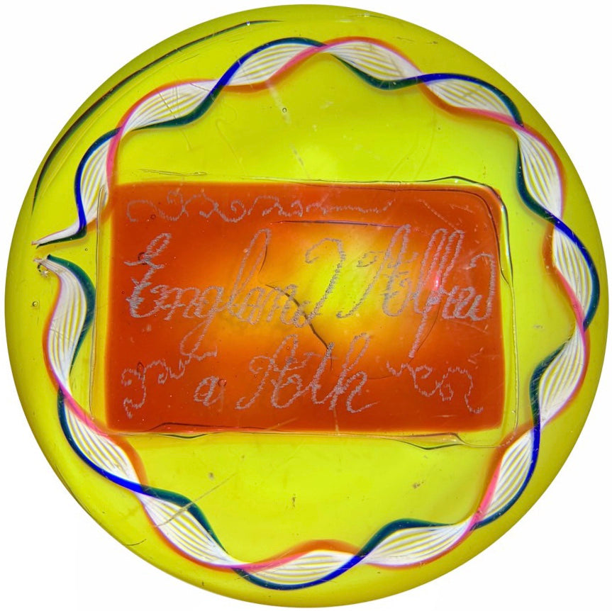 Antique Val St. Lambert Art Glass Paperweight England Alfred a Aoth Engraved Plaque w/ Torsade on Yellow