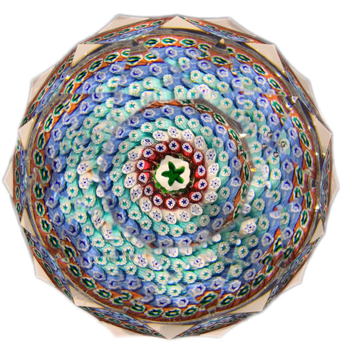 Whitefriars Art Glass Paperweight Concentric Millefiori with Fancy Faceting