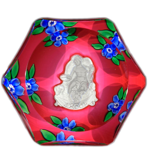 Vintage Saint Louis Art Glass Paperweight Lampwork Blossoms and Amour Cupid Sulphide