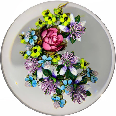 Ken Rosenfeld 2015 Art Glass Paperweight Large Lampwork Flower Bouquet
