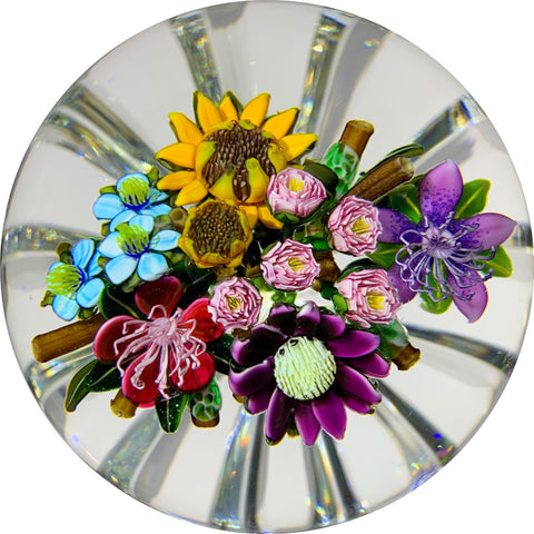 Ken Rosenfeld 2019 Lampwork Flower Bouquet With Roses, Sunflowers, and Daisies on a Star-cut Base