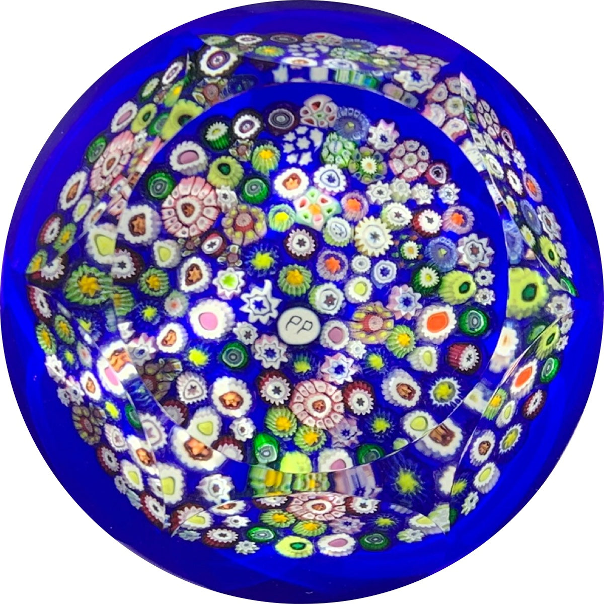 Phoenix Paperweights 2002 Faceted Closepack Millefiori on Opaque Blue 1 of 1