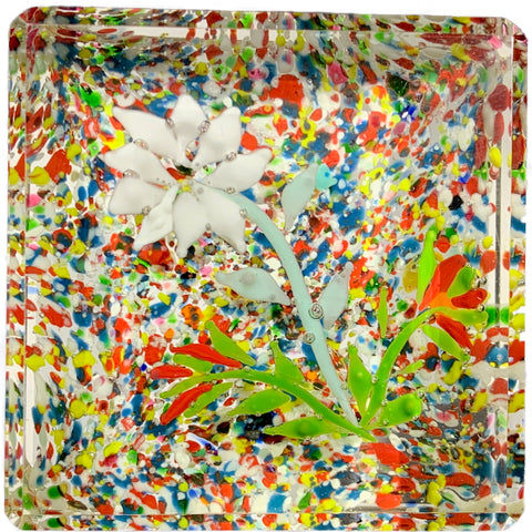 Early 20th Century Unknown Thurigian/Silesian Block with Flowers over Colorful Frit Ground