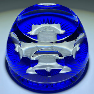 Baccarat Crystal Liberty Bell Sulphide on Blue Faceted Glass Paperweight